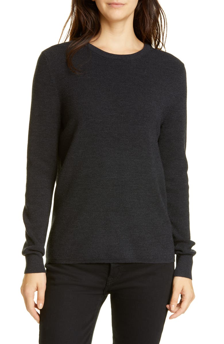 JENNI KAYNE Merino Wool Crewneck Sweater, Main, color, CHARCOAL