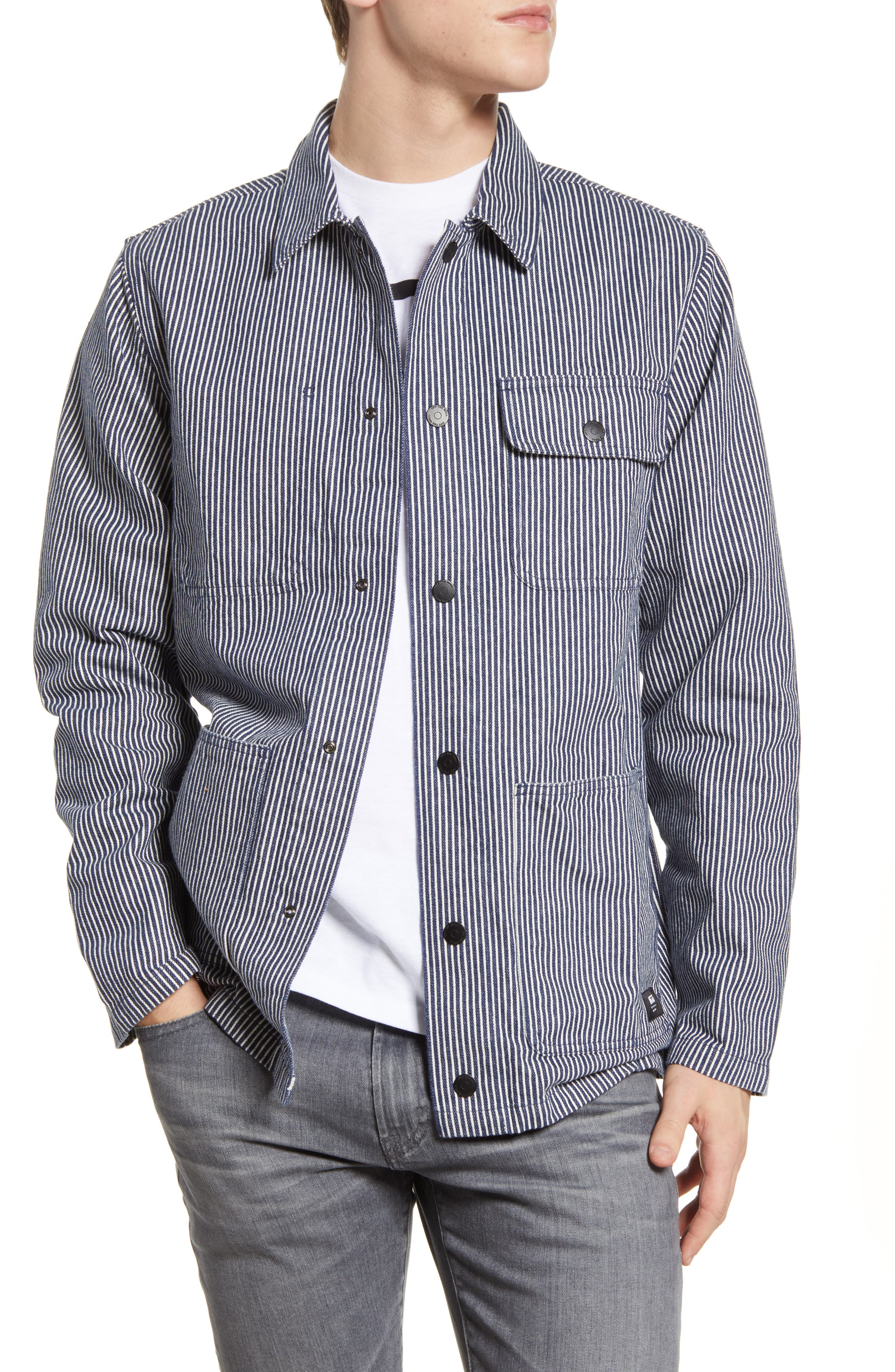 Men's Vintage Workwear – 1920s, 1930s, 1940s, 1950s Mens Vans Stripe Drill Denim Chore Coat Size Small - Blue $79.50 AT vintagedancer.com