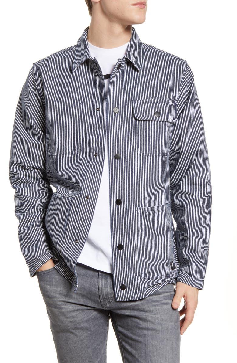 VANS Stripe Drill Denim Chore Coat, Main, color, DRESS BLUES HICKORY STRIPE
