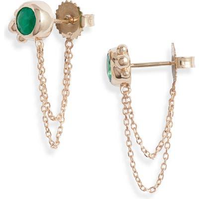 Anzie Bonheur Emerald Chain Stud Earrings