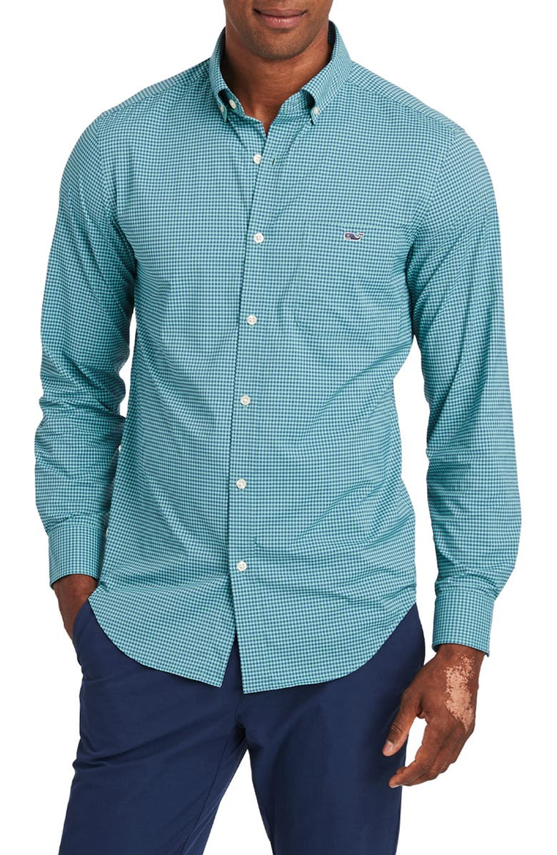 VINEYARD VINES Lisbon Classic Fit Button-Down Performance Shirt, Main, color, GREENWICH GREEN