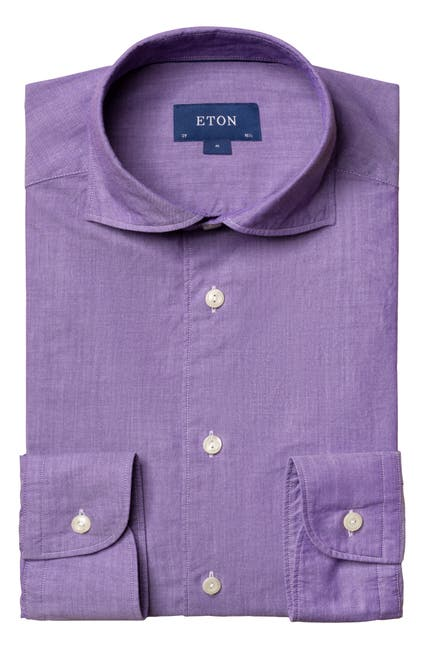 Image of Eton Slim Fit Solid Cotton & Silk Dress Shirt