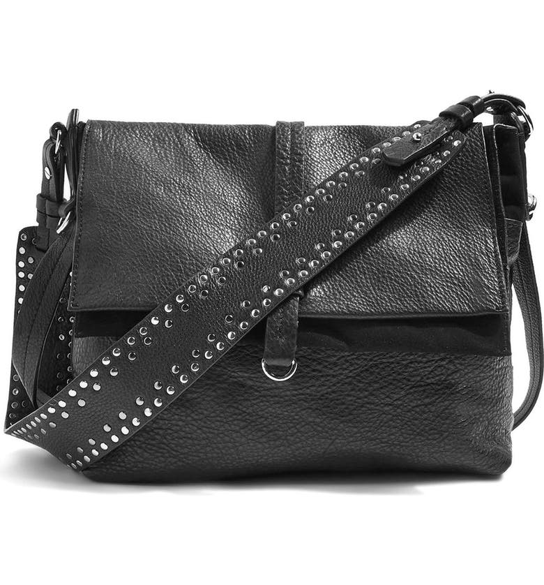TOPSHOP Premium Leather Studded Calfskin Hobo Bag, Main, color, 001