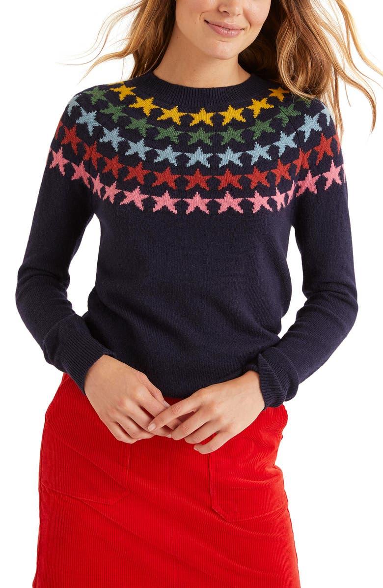BODEN Zoe Fair Isle Sweater, Main, color, NAVY/ MULTI STAR