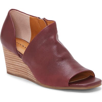 Lucky Brand Tylera Open Toe Wedge Bootie, Red