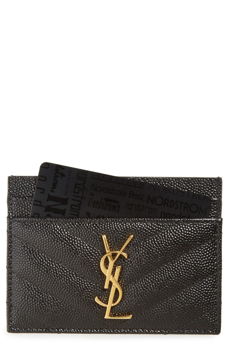 SAINT LAURENT Monogram Quilted Leather Credit Card Case, Main, color, NERO