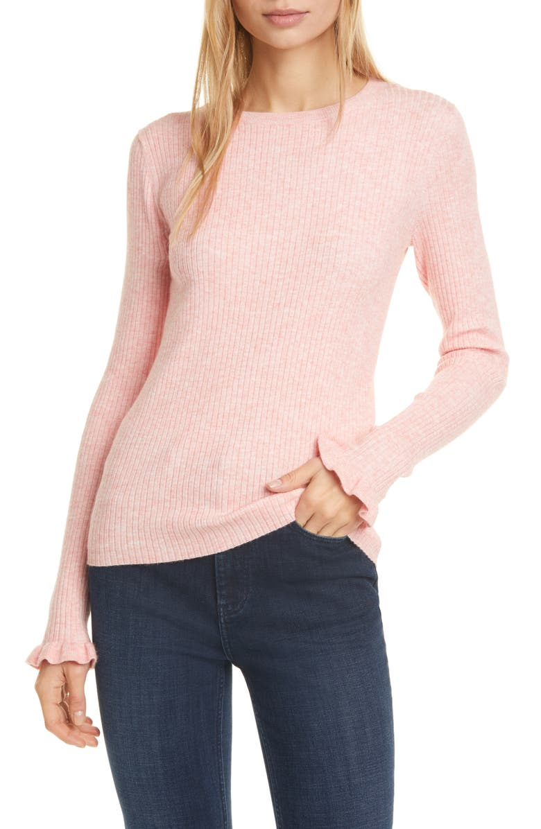 LA VIE REBECCA TAYLOR Ribbed Long Sleeve Sweater, Main, color, FRENCH CLAY