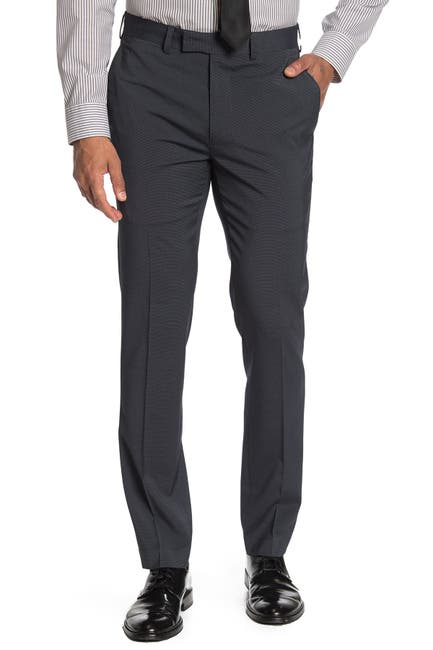 "Image of Louis Raphael Tick Dot Slim Fit Trousers - 30-34"" Inseam"