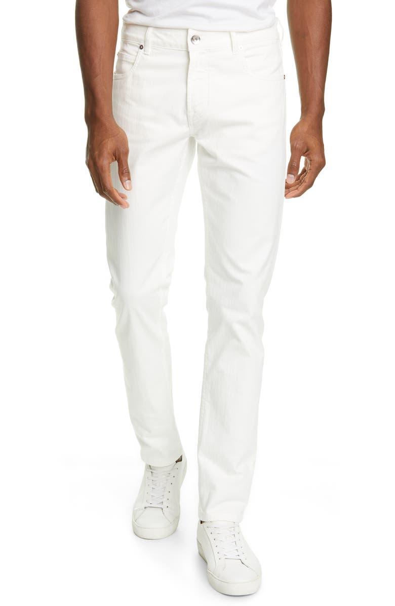 ELEVENTY Slim Fit Stretch Cotton Five Pocket Pants, Main, color, WHITE