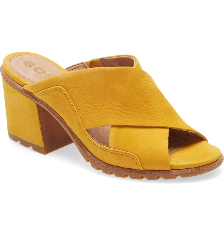 SOREL Nadia Slide Sandal, Main, color, GOLDEN YELLOW NUBUCK LEATHER