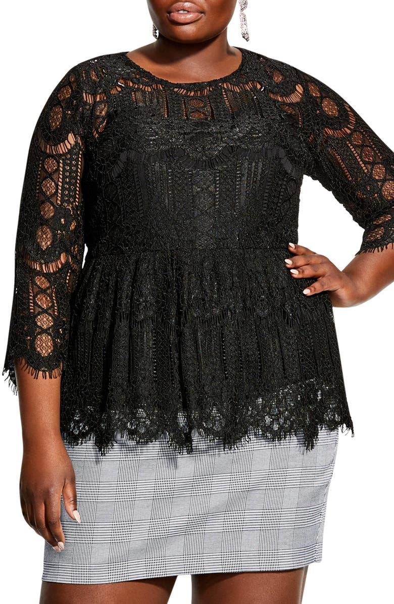 CITY CHIC Lace Peplum Top, Main, color, BLACK