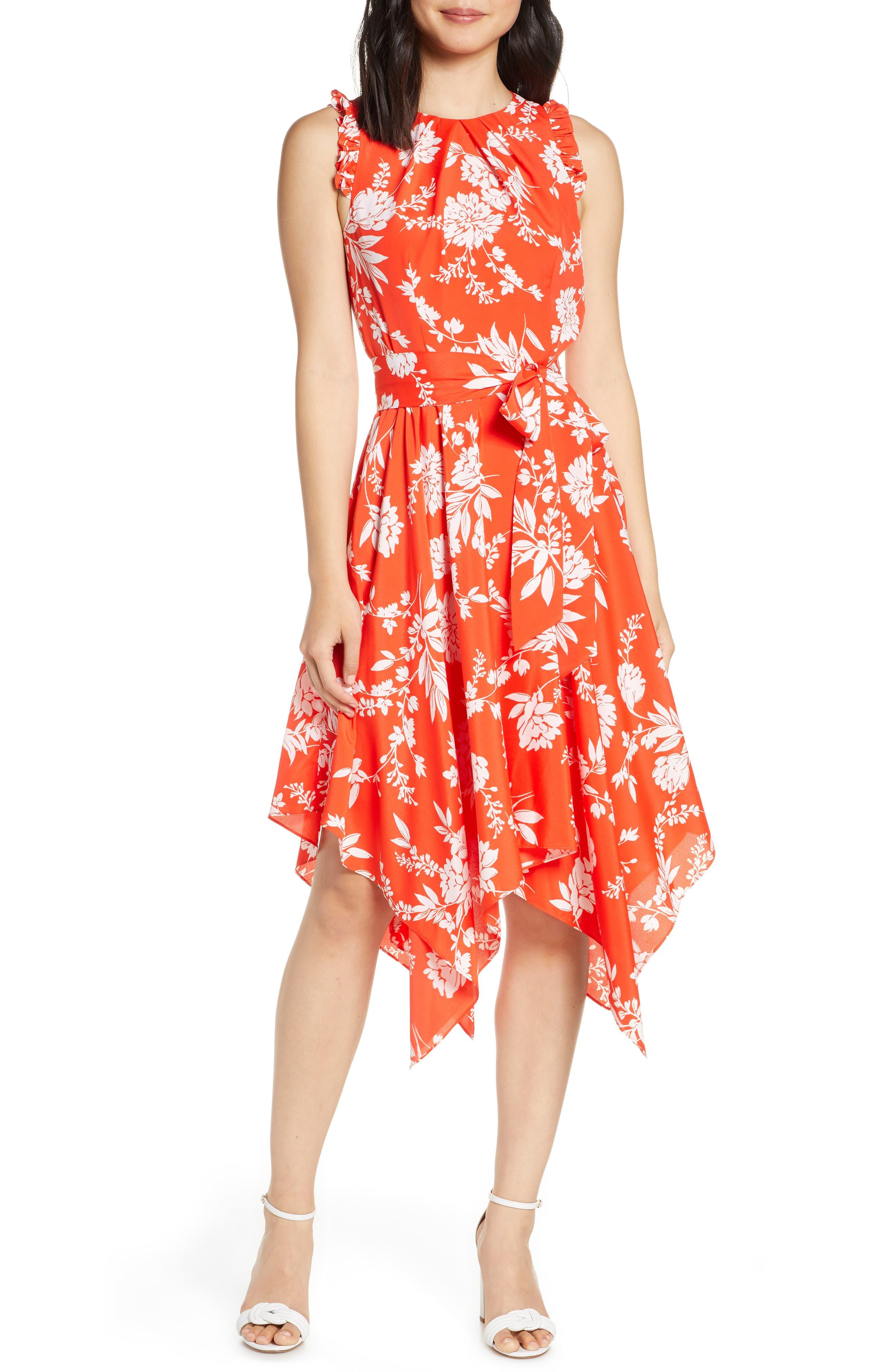 Eliza J Floral Sleeveless Handkerchief Hem Midi Dress, Orange