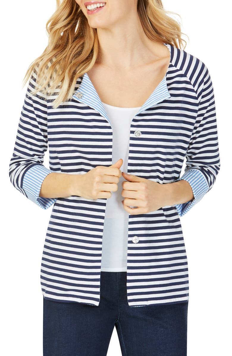 FOXCROFT Stefania in Stripe Mixed Media Top, Main, color, NAVY