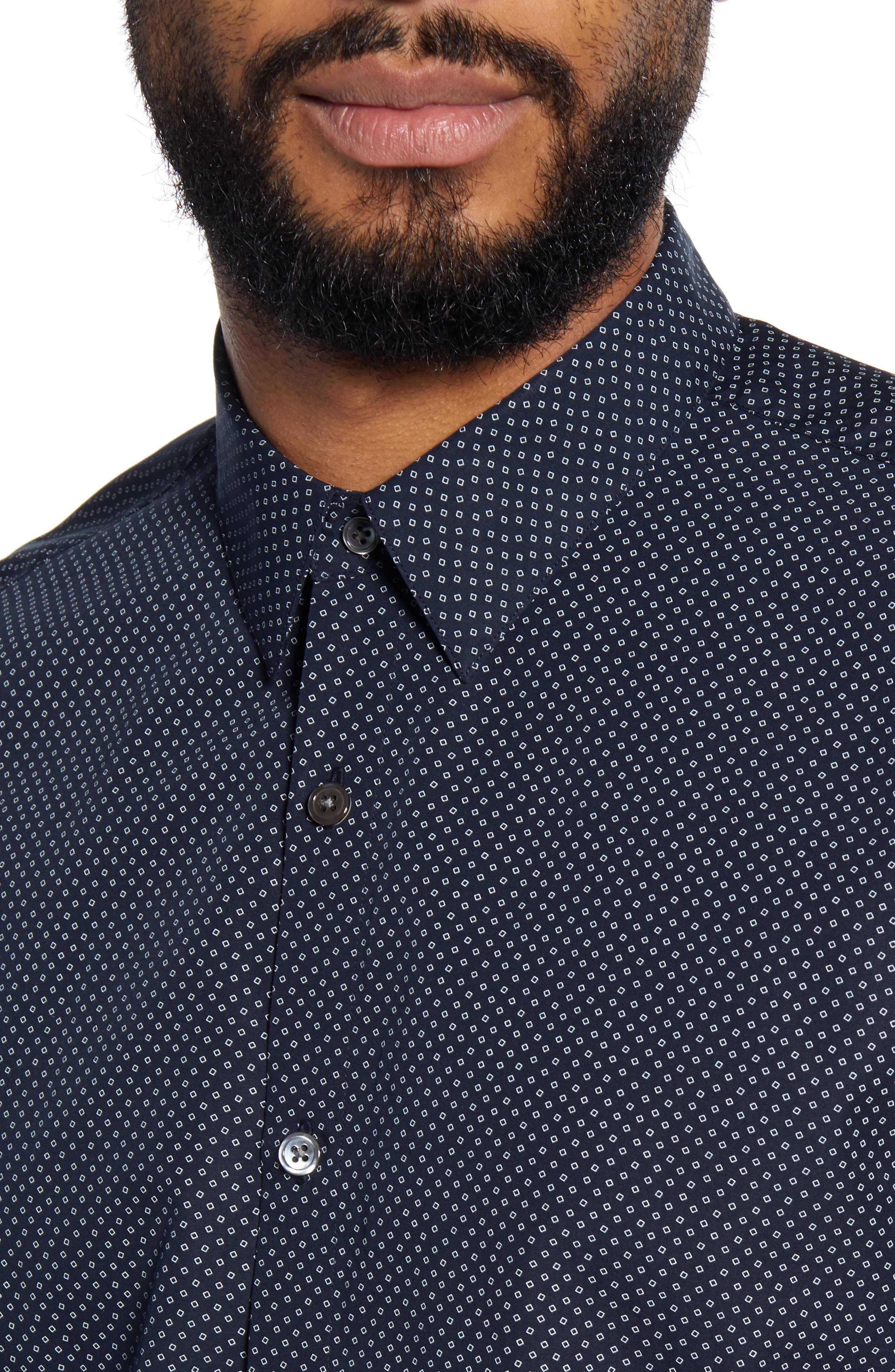 Theory T-shirts Irving Hyde Slim Fit Print Button-Up Shirt