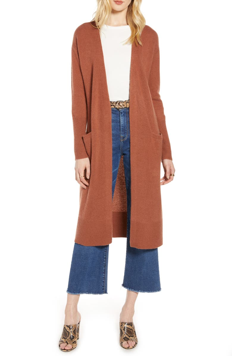 HALOGEN<SUP>®</SUP> Wool & Cashmere Long Cardigan, Main, color, RUST SEQUOIA