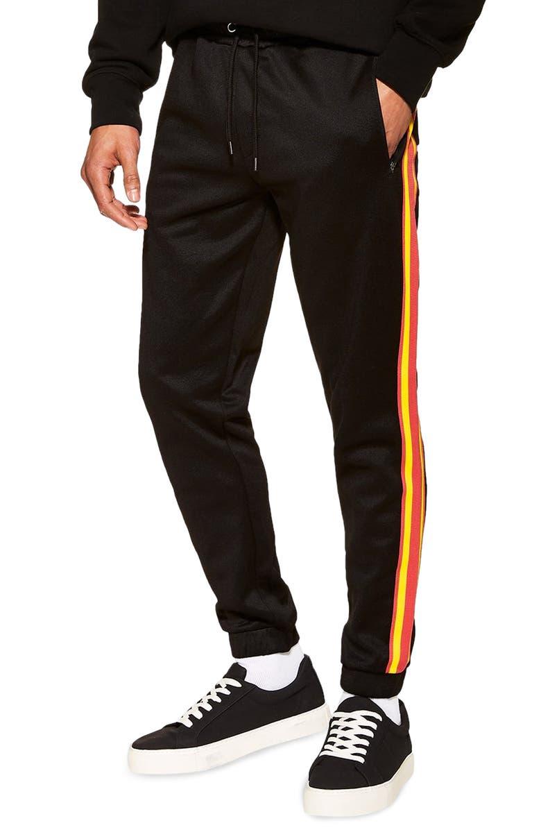 TOPMAN Tapered Slim Fit Jogger Pants, Main, color, BLACK MULTI