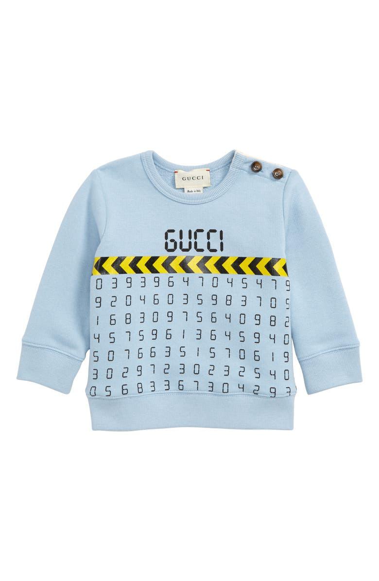 GUCCI Graphic Sweatshirt, Main, color, FROST WIND/ BLACK