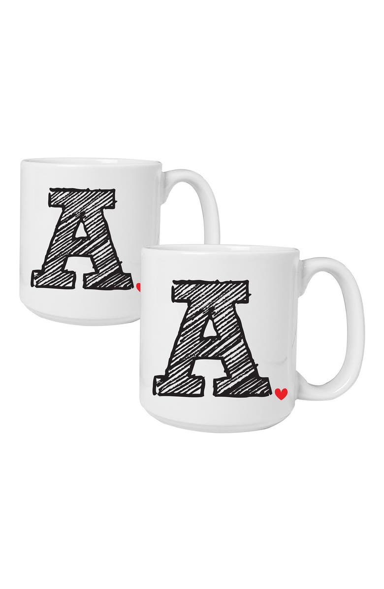 CATHY'S CONCEPTS Personalized Ceramic Coffee Mugs, Main, color, 100