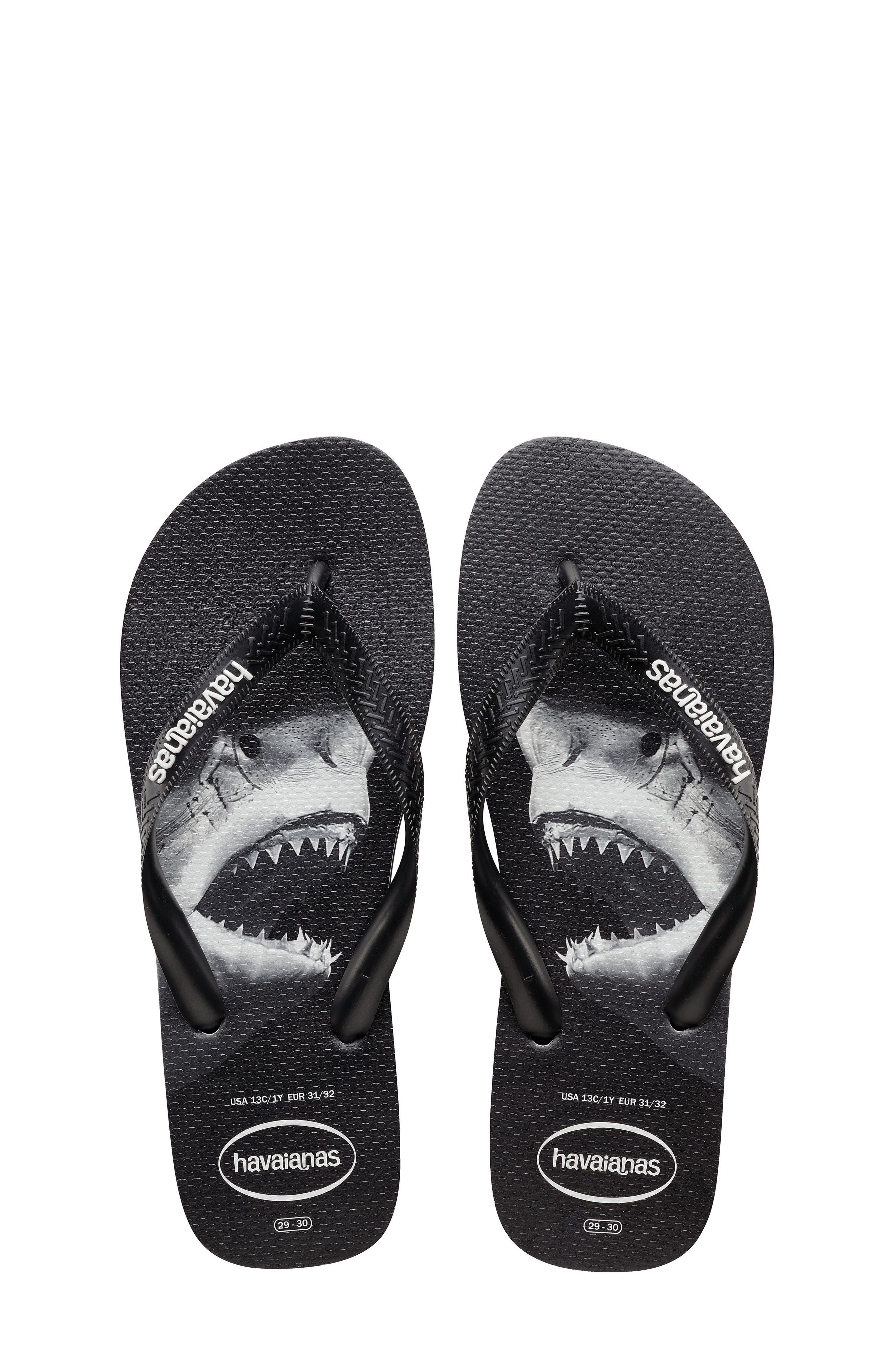 Toddler Boys Havianas Shark Bite Flip Flop Size 25 BR  Black