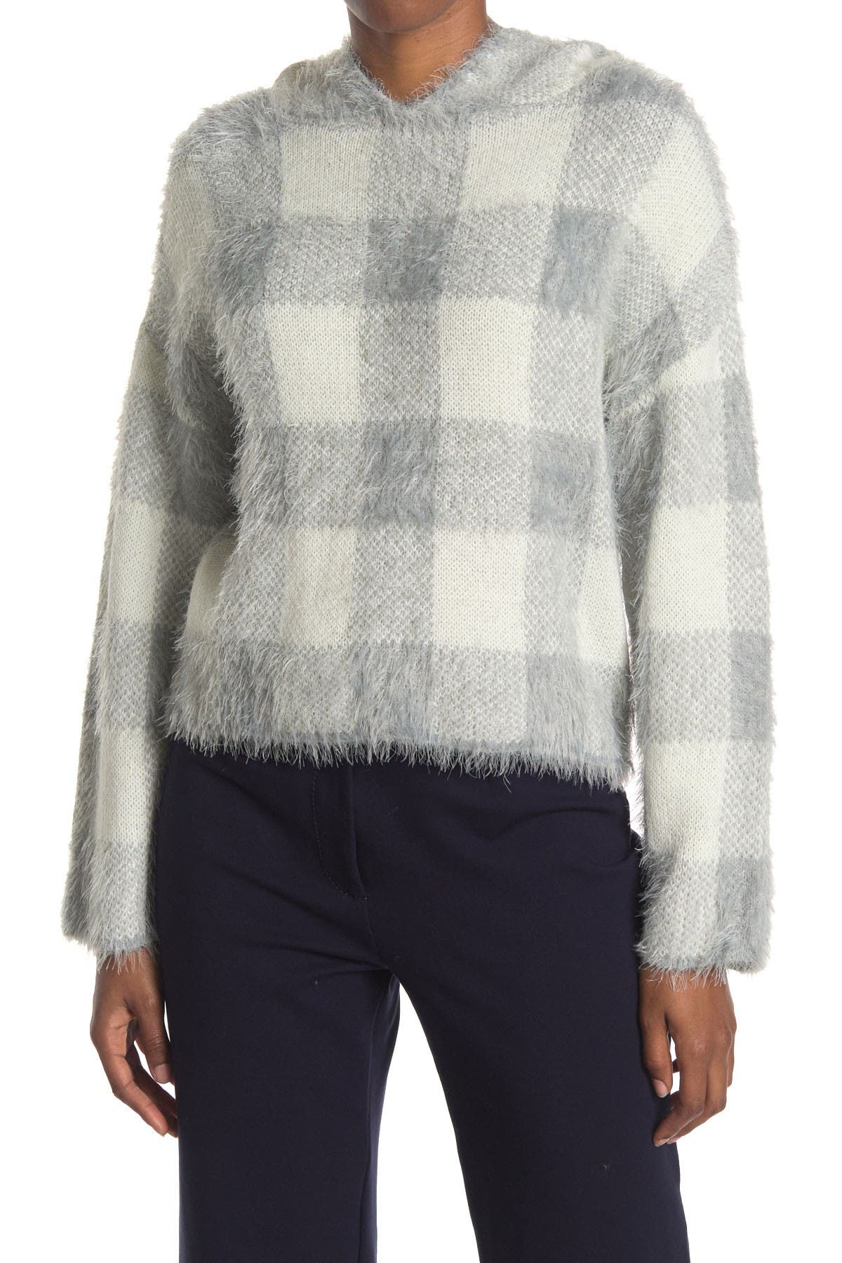 Image of Cliche Plaid Hooded Eyelash Sweater
