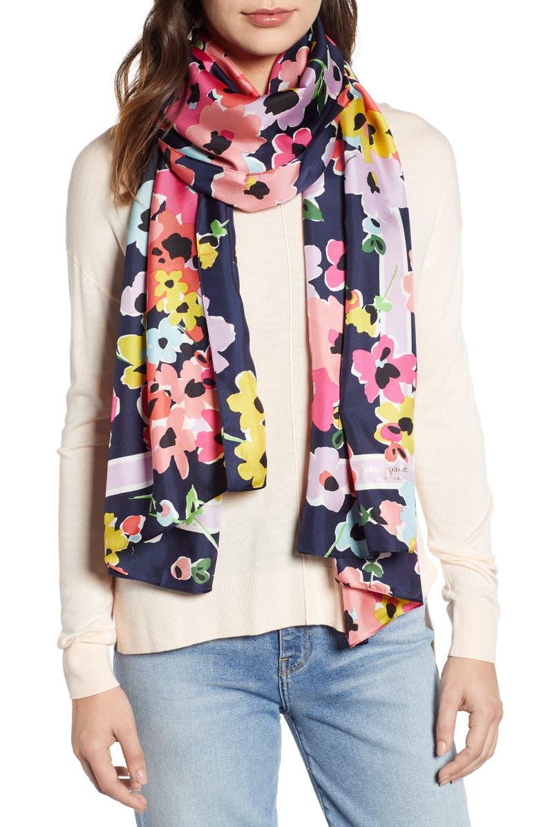 KATE SPADE NEW YORK wild bouquet silk scarf, Main, color, PARISIAN NAVY