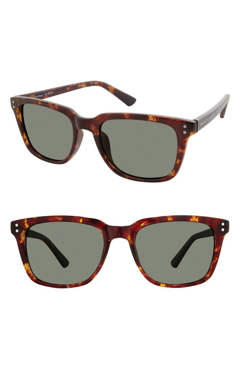 PRIVÉ REVAUX The Dean 52mm Polarized Sunglasses, Main, color, BLACK TORTOISE