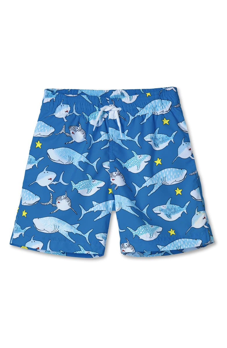 STELLA COVE Shark Print Swim Trunks, Main, color, BLUE