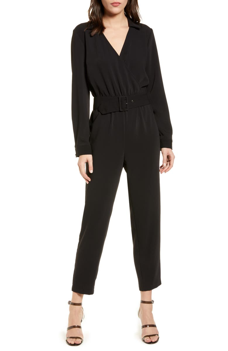 CUPCAKES AND CASHMERE Cascade Belted Jumpsuit, Main, color, 001