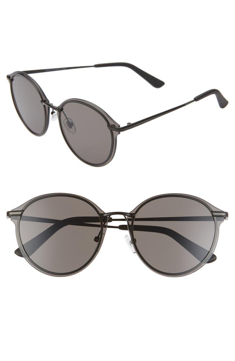 BP. Ander 62mm Round Sunglasses, Main, color, BLACK/ BLACK