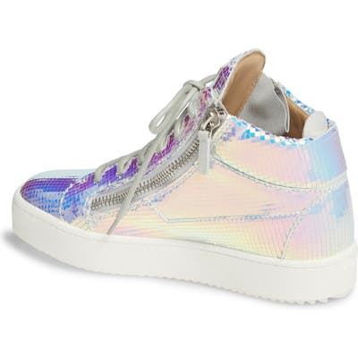 Giuseppe Zanotti Iridescent High Top Sneaker, Metallic