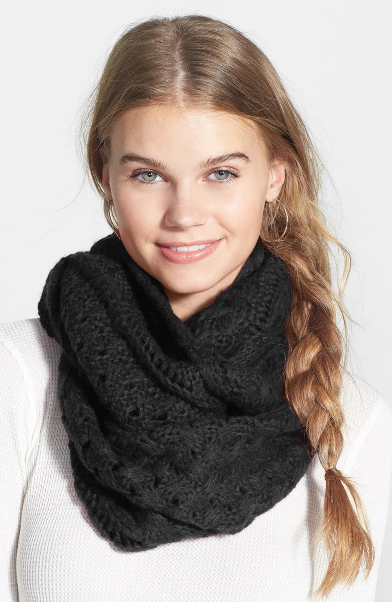 BP. Cable Knit Infinity Scarf, Main, color, 001