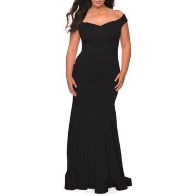Plus Size La Femme Off The Shoulder Gown, Black