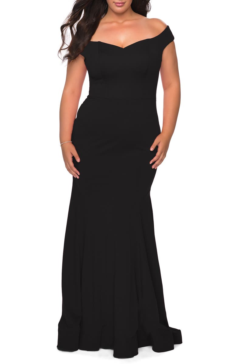 LA FEMME Off the Shoulder Gown, Main, color, BLACK