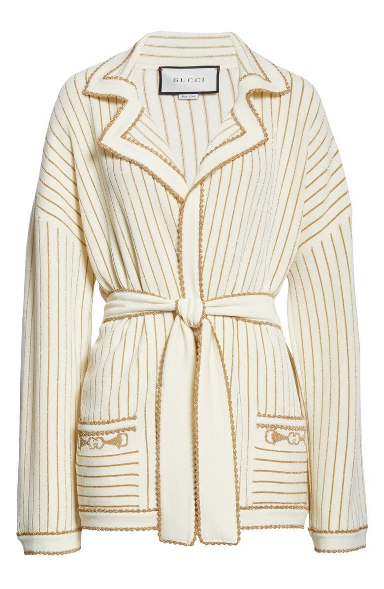 GUCCI Metallic Stripe Wool Blend Wrap Sweater Jacket, Main, color, IVORY/ GOLD