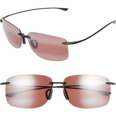 Maui Jim Hema 62Mm Polarizedplus2 Oversize Rimless Sunglasses - Maui Rose/ Gloss Black
