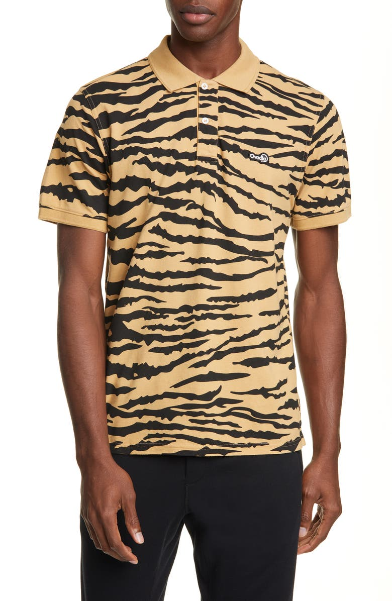 OVADIA & SONS Tiger Piqué Polo, Main, color, CAMEL