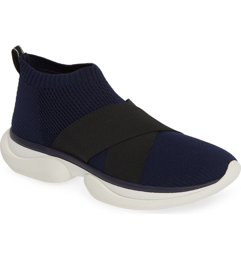 TORY SPORT Mid Top Sock Sneaker, Main, color, NAVY/ BLACK