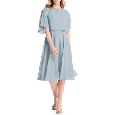 Jenny Packham Flutter Sleeve Open Back Chiffon Cocktail Dress, 8 (similar to 1) - Blue