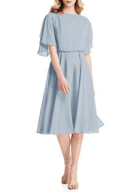 Jenny Packham Flutter Sleeve Open Back Chiffon Cocktail Dress In Mist