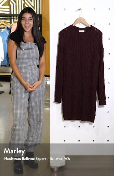 Long Sleeve Cable Knit Sweater Dress, sales video thumbnail