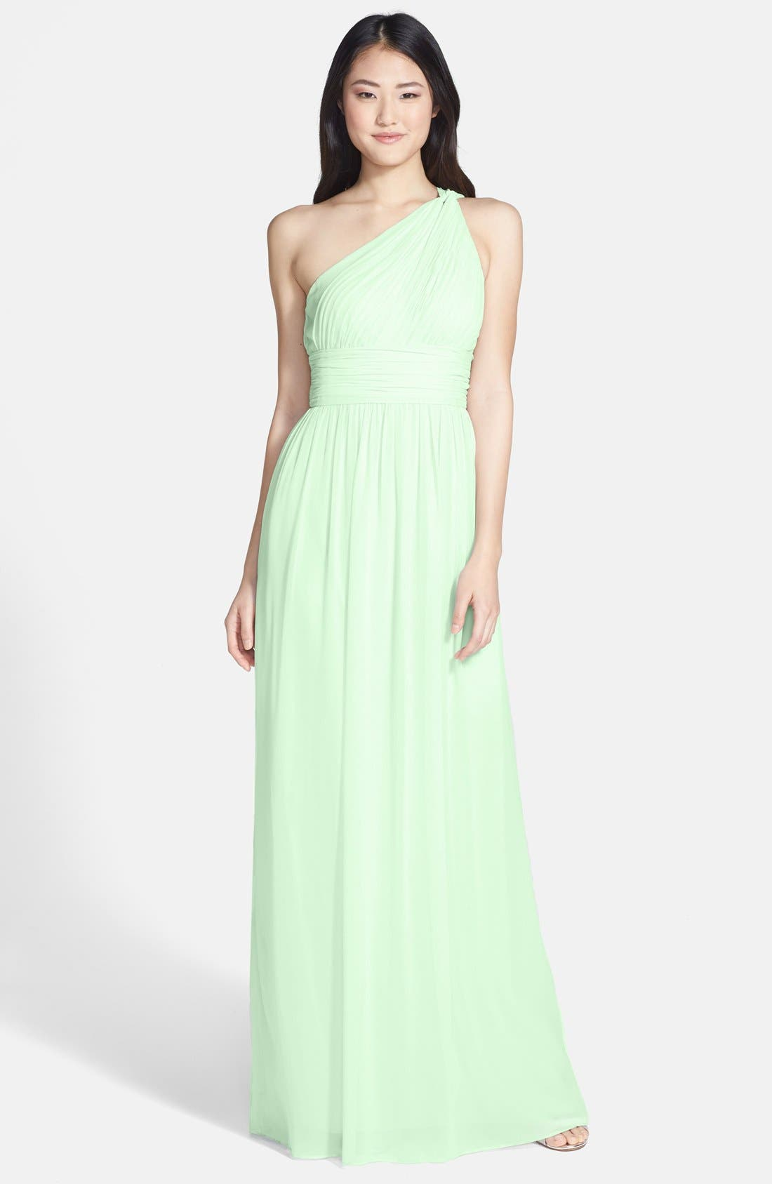 ,                             'Rachel' Ruched One-Shoulder Chiffon Gown,                             Main thumbnail 56, color,                             352