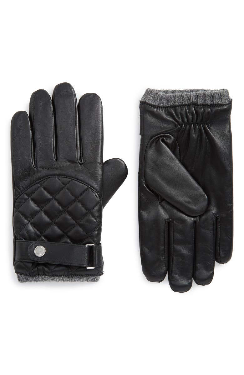 POLO RALPH LAUREN Quilted Leather Gloves, Main, color, BLACK