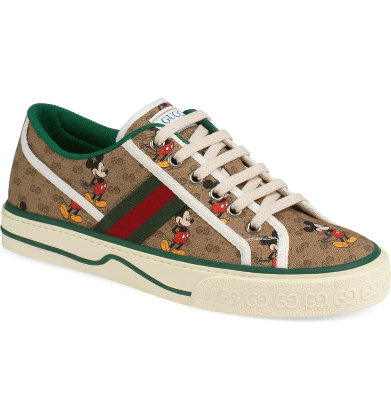 GUCCI x Disney 1977 GG Print Tennis Sneaker, Main, color, BEIGE/ MULTI