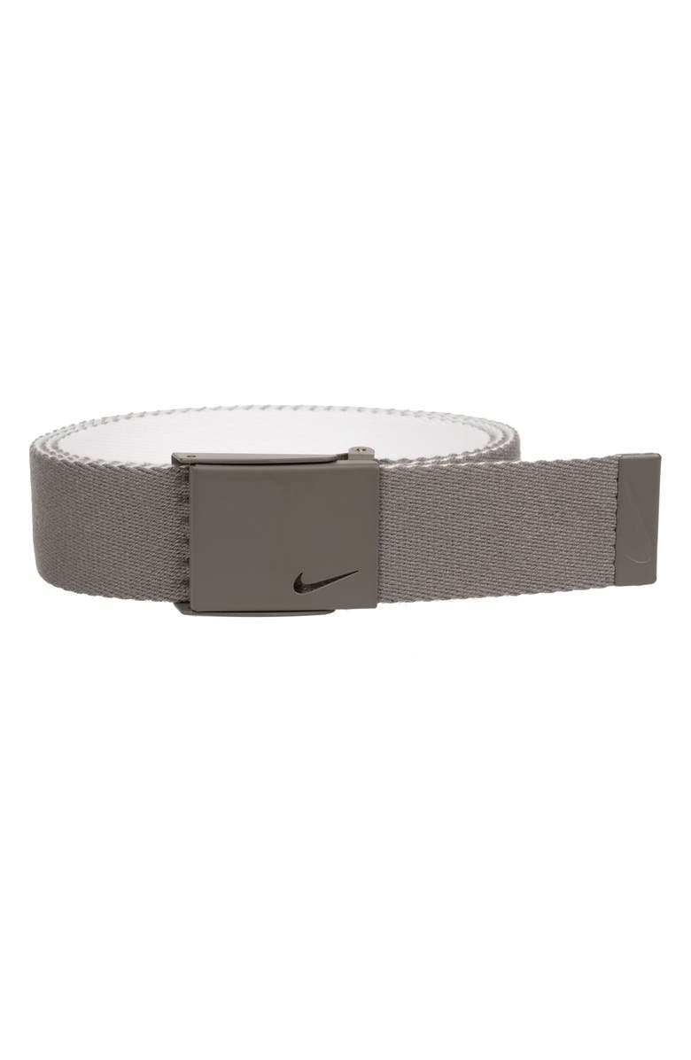 NIKE Essentials Reversible Webbed Belt, Main, color, LIGHT CHARCOAL/ WHITE