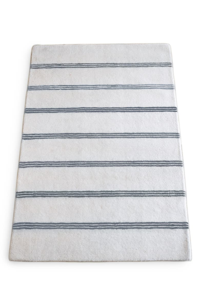PEHR Grey Stripe Wool Rug, Main, color, 020