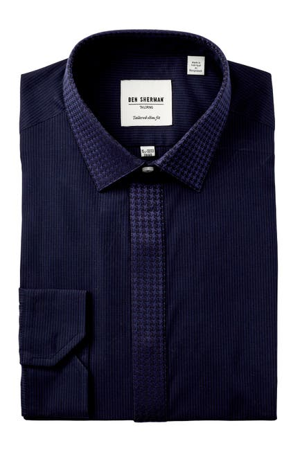 Image of Ben Sherman End On End Stripe Tux Tailored Slim Fit Dress Shirt