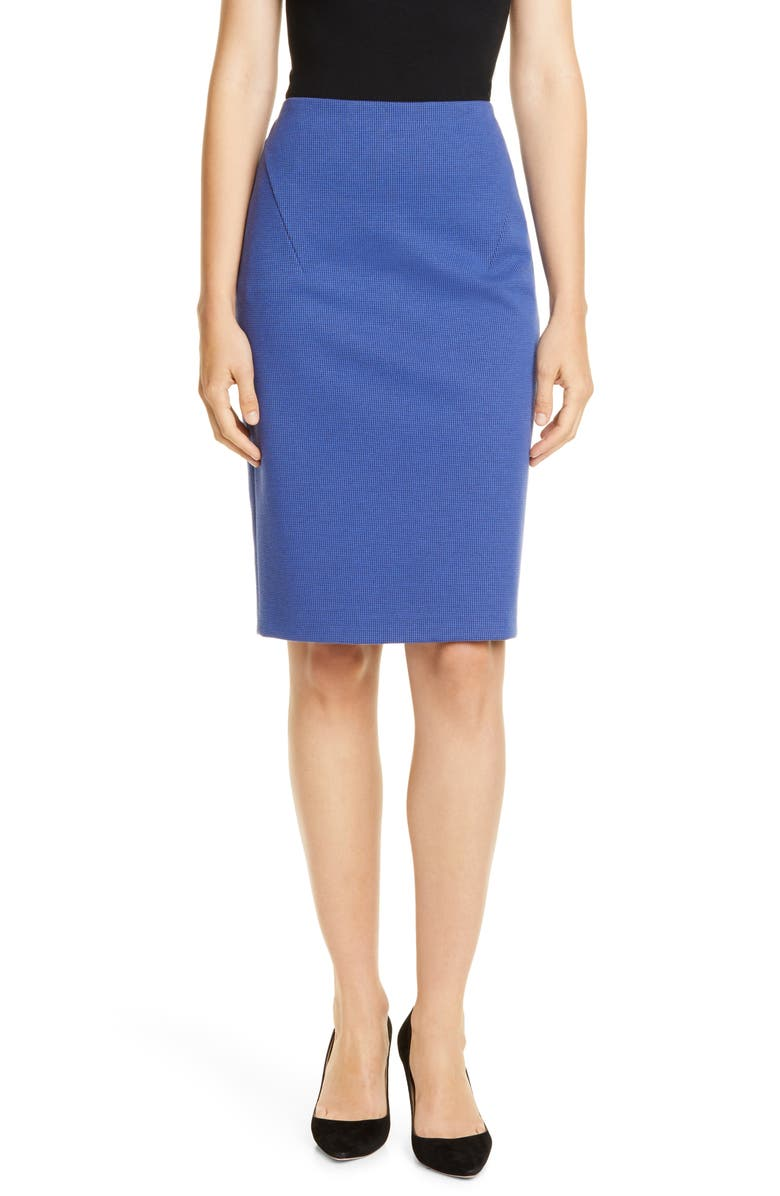 BOSS Velanda Pencil Skirt, Main, color, KLIEN BLUE FANTASY