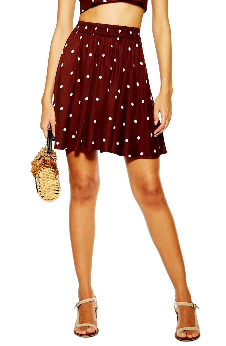 TOPSHOP Spot Print Miniskirt, Main, color, DARK BROWN MULTI