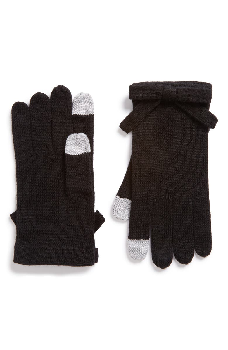 KATE SPADE NEW YORK contrast bow tech friendly gloves, Main, color, 001