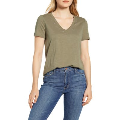 Vince Camuto Studded V-Neck Cotton Blend T-Shirt, Green